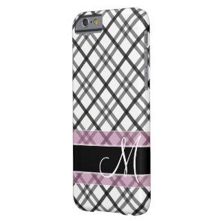 Teste padrão da xadrez com monograma - rosa branco capa barely there para iPhone 6