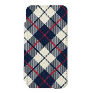Teste padrão da xadrez dos azuis marinhos capa carteira incipio watson™ para iPhone 5