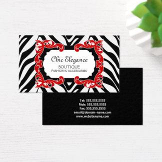 Teste padrão da zebra e Flourish vermelho Cartão De Visitas