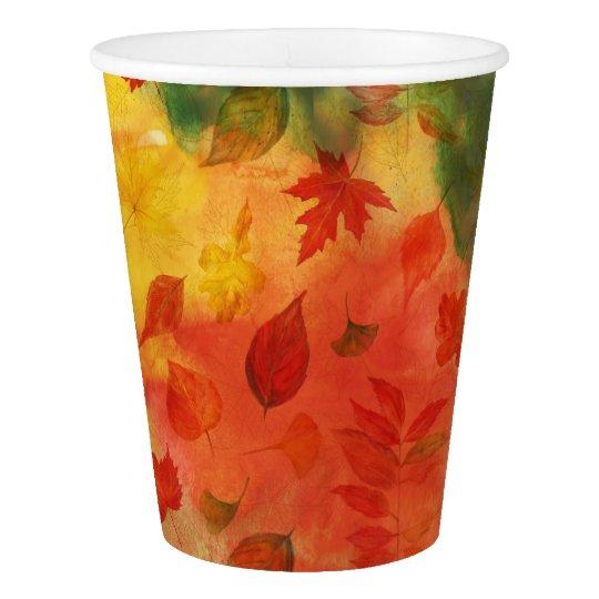 Teste padrão das folhas de outono copo de papel