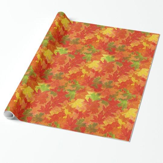 Teste padrão das folhas de outono papel de presente