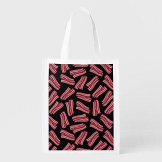 Teste padrão das tiras de bacon sacola ecológica para supermercado