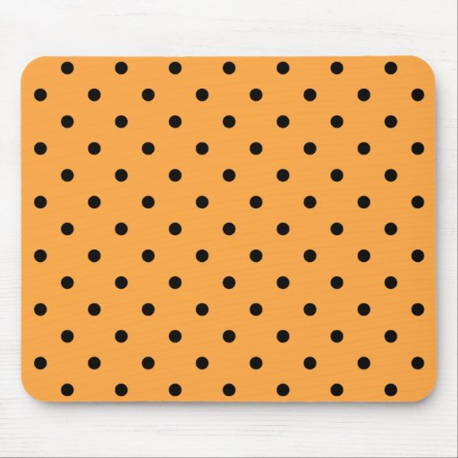 Teste padrão de bolinhas alaranjado e preto mouse pads