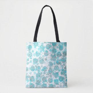 Teste padrão de bolinhas azul afligido bolsa tote