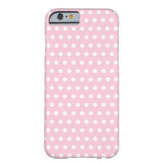 Teste padrão de bolinhas cor-de-rosa e branco capa barely there para iPhone 6
