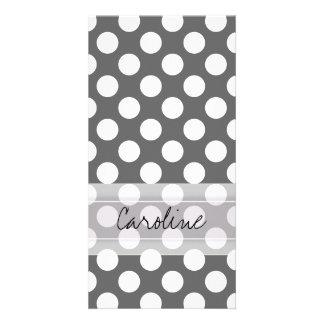 Teste padrão de bolinhas do branco cinzento de cartão com foto