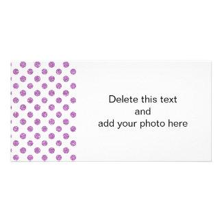 Teste padrão de bolinhas do brilho da lavanda do cartão com foto
