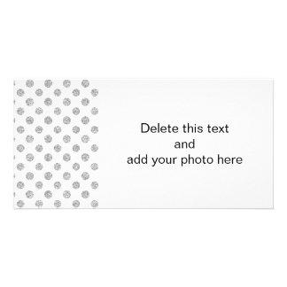 Teste padrão de bolinhas do brilho da prata do cartão com foto