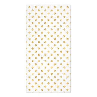 Teste padrão de bolinhas do brilho do ouro cartão com foto