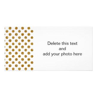 Teste padrão de bolinhas do brilho do ouro do cartão com foto