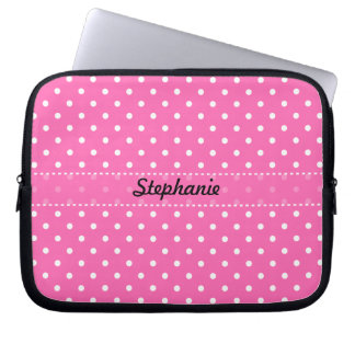 Teste padrão de bolinhas do rosa quente e do branc capa de notebook