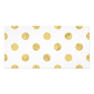 Teste padrão de bolinhas elegante da folha de ouro cartão