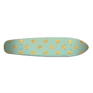 Teste padrão de bolinhas elegante da folha de ouro shape de skate 18,4cm