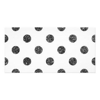 Teste padrão de bolinhas elegante do brilho do cartão com foto