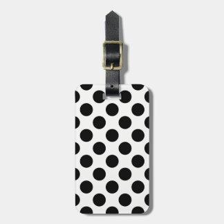 Teste padrão de bolinhas preto e branco etiqueta de bagagem