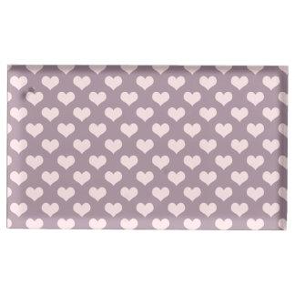 teste padrão de bolinhas roxo dos corações do amor suporte para cartões de mesas