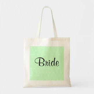 Teste padrão de bolinhas verde da hortelã. Wedding Sacola Tote Budget