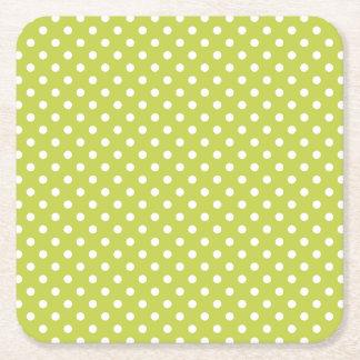 Teste padrão de bolinhas verde porta-copo quadrado