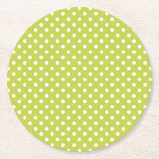 Teste padrão de bolinhas verde porta-copo redondo