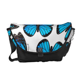 Teste padrão de borboleta azul do monarca bolsas mensageiro