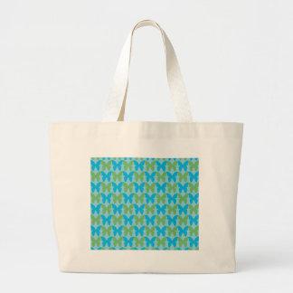 Teste padrão de borboleta decorativo azul e verde bolsa para compras