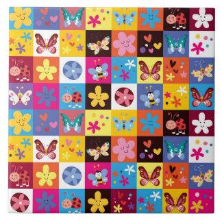 Teste padrão de borboleta na moda Funky Azulejo De Cerâmica