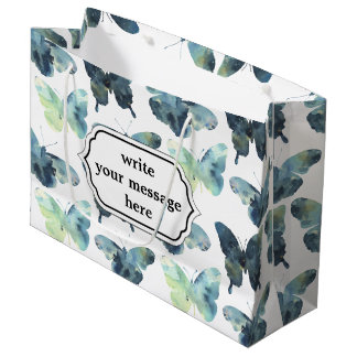 Teste padrão de borboletas azul verde artístico da sacola para presentes grande