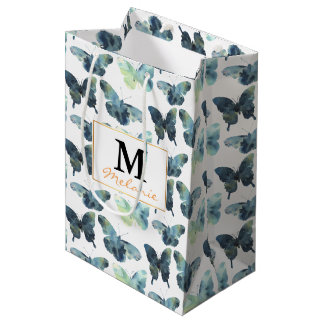 Teste padrão de borboletas azul verde artístico da sacola para presentes média
