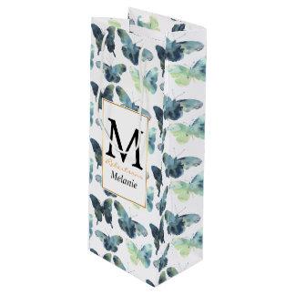 Teste padrão de borboletas azul verde artístico da sacola para vinho