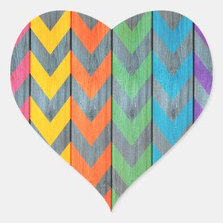 Teste padrão de Chevron na textura de madeira Adesivo Coração
