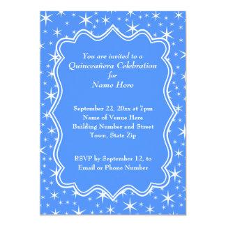 Teste padrão de estrela azul e branco Quinceanera Convite 12.7 X 17.78cm
