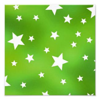 Teste padrão de estrela do verde limão e do branco impressão de foto