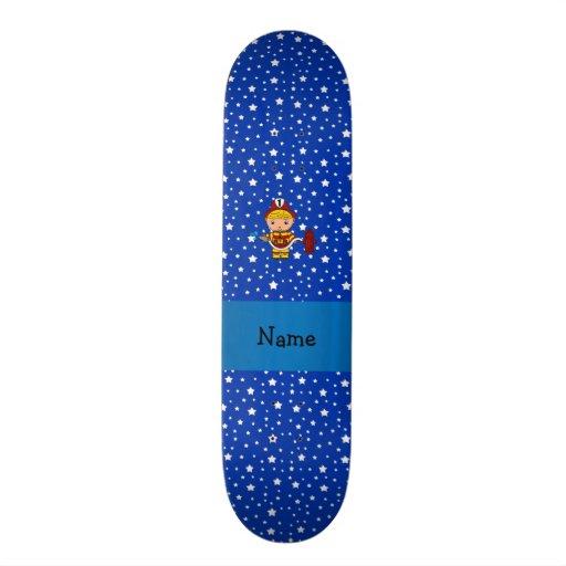 Teste padrão de estrelas azuis conhecido personali skates personalizados
