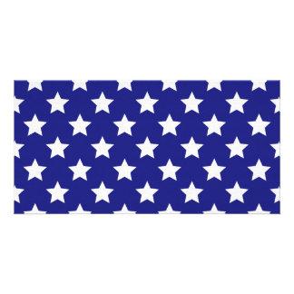 Teste padrão de estrelas do patriota cartao com fotos personalizado