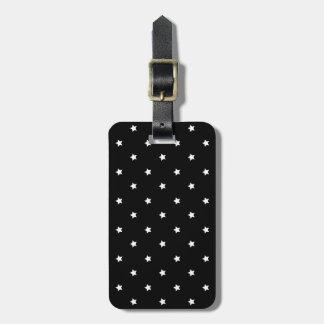 Teste padrão de estrelas preto e branco etiqueta de bagagem