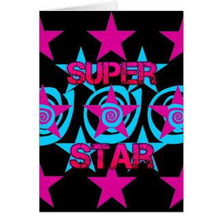 Teste padrão de estrelas super dos redemoinhos da cartão comemorativo