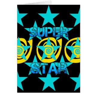 Teste padrão de estrelas super dos redemoinhos do cartão comemorativo