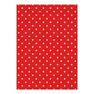 Teste padrão de estrelas vermelho e branco convites personalizados
