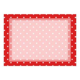 Teste padrão de estrelas vermelho e branco convites personalizado