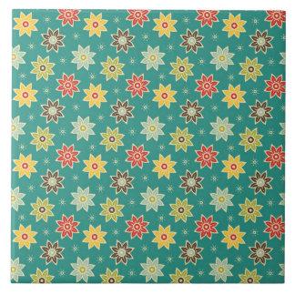 teste padrão de flor 70s retro azulejo quadrado grande