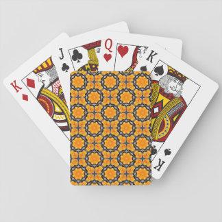 Teste padrão de flor alaranjado jogo de carta