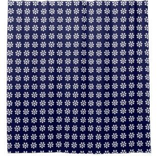 Teste padrão de flor branca clássico do vintage no cortina para box