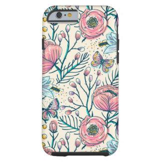 Teste padrão de flor feminino do jardim de rosas capa tough para iPhone 6