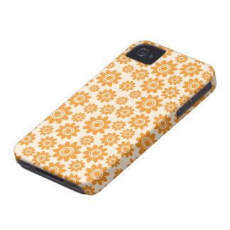 Teste padrão de flor lunático alaranjado e de capinha iPhone 4