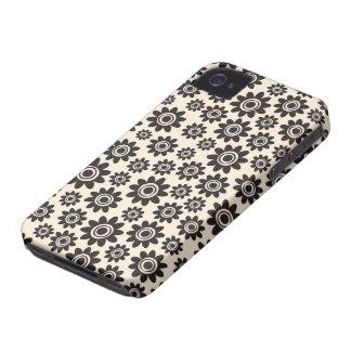 Teste padrão de flor lunático preto e de creme capa para iPhone 4 Case-Mate