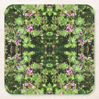 Teste padrão de flor porta-copo de papel quadrado