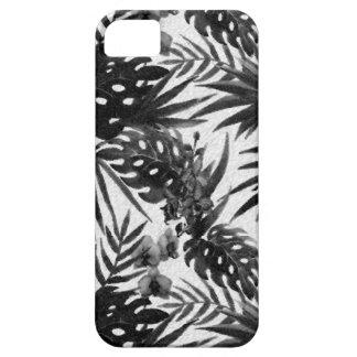 Teste padrão de flor tropical preto e branco capa barely there para iPhone 5