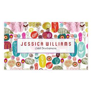 Teste padrão de flores bonito colorido cartão de visita
