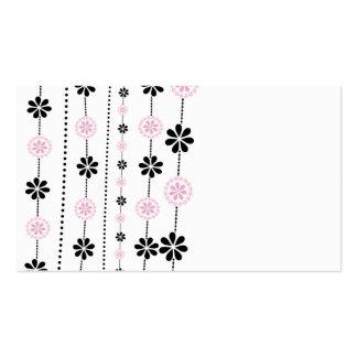 Teste padrão de flores cor-de-rosa e preto cartão de visita