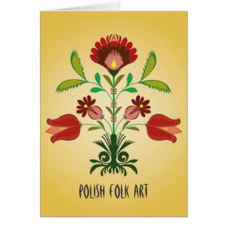Teste padrão de flores polonês do bordado, cartão